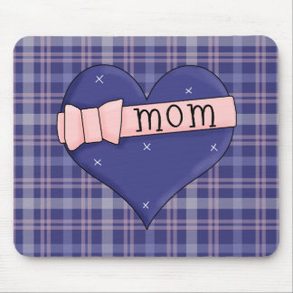Mom Heart Pink Ribbon Bow Mousepad