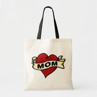Mom heart tattoo totebag budget tote bag
