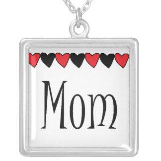 Mom Hearts Square Pendant Necklace