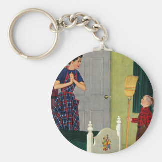 Mom, I Cleaned My Room! Basic Round Button Key Ring