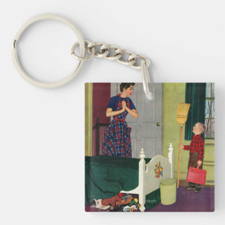 Mom, I Cleaned My Room! Double-Sided Square Acrylic Key Ring