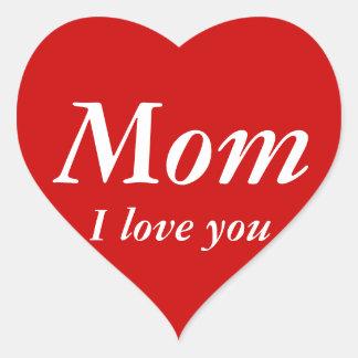 Mom I love you sticker (Heart Shaped)