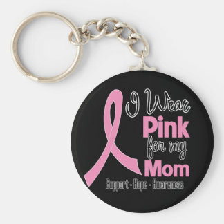 Mom - I Wear Pink - Breast Cancer Basic Round Button Key Ring