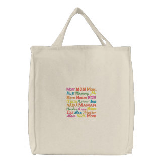 Mom in Any Language - Natural Embroidered Tote Bag
