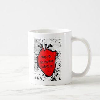 mom is where the anatomical heart is basic white mug