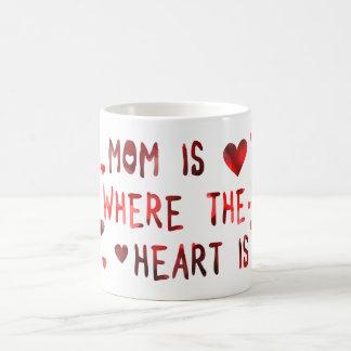 mom is where the heart is bokeh basic white mug