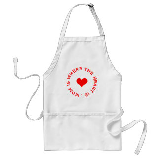 mom is where the heart is button standard apron