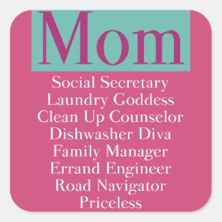 Mom - job description square sticker