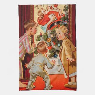 Mom Kisses Santa Claus Tea Towel