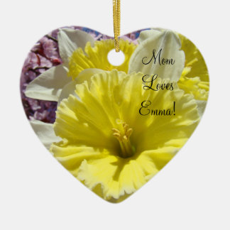 Mom Loves Child s Name Oranment Daffodils Christmas Ornament