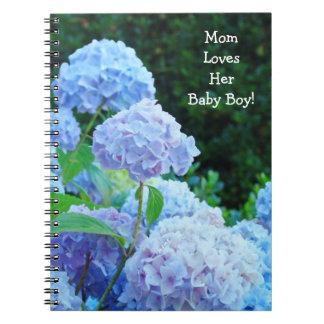 Mom Loves Her Baby  Boy! notebooks Blue Green