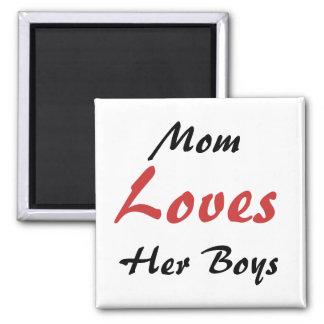 Mom Loves her Boys Fridge Magnet