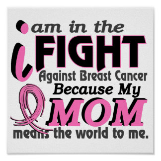 Mom Means The World To Me Breast Cancer Poster