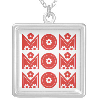Mom Mother s Day floral red text design necklace