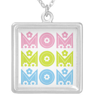 Mom Mother s Day floral text design necklace