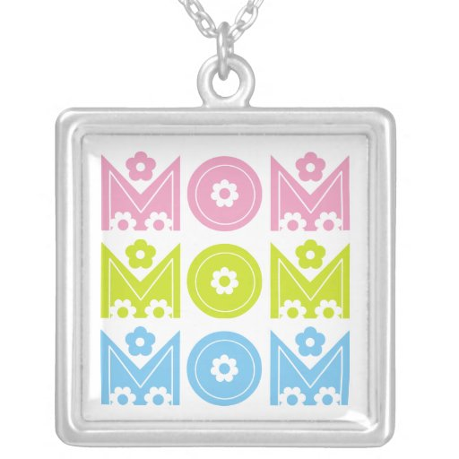 Mom Mother's Day floral text design necklace