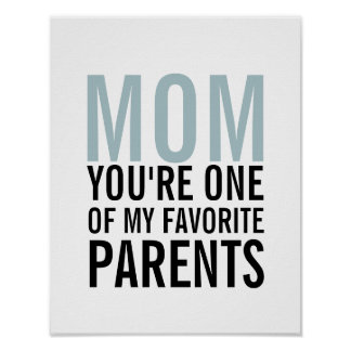 Mom My Favorite Parent Mother's Day Poster