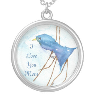 Mom Necklace, Blue Bird Round Pendant Necklace