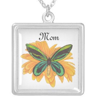 Mom Necklace, Butterfly with Gerber Daisy Square Pendant Necklace
