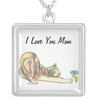 Mom Necklace, Cat Lovers Art Silver Plated Necklace