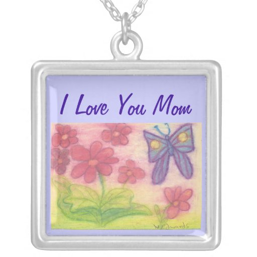 Mom Necklace with Butterfly Garden