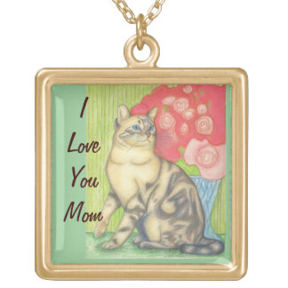 Mom Necklace with Cat and Flowers