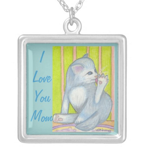Mom Necklace with Cute Cat, Cat Lovers Necklace