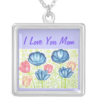 Mom Necklace with Tulip Garden, Mom Jewelry