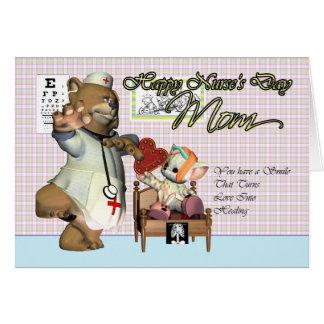 Mom Nurse's Day cute little cat with nurse Greeting Card