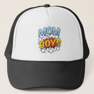 Mom of Boys Mother's Day Comic Book Style Trucker Hat