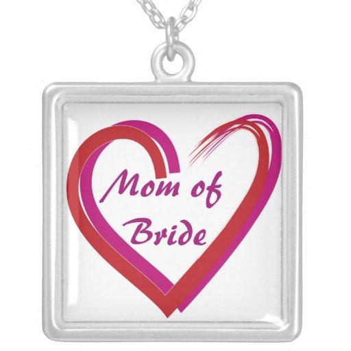 Mom of Bride Heart Necklaces