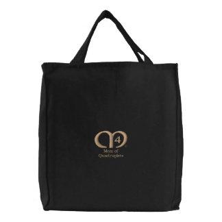 Mom of Quadruplets [Tan] Bag Embroidered Bag