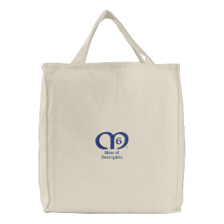 Mom of Sextuplets [Blue] Bag Embroidered Bag