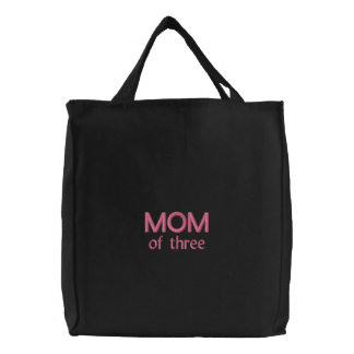 Mom of three Embroidered Bag