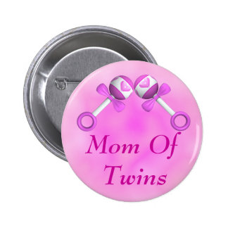 Mom Of Twin Girls Button