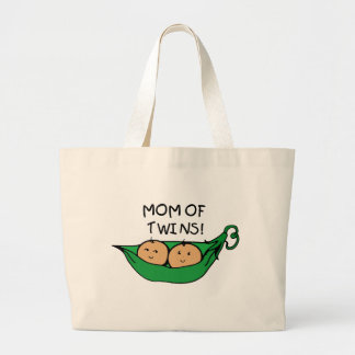 Mom of Twin Pod Jumbo Tote Bag