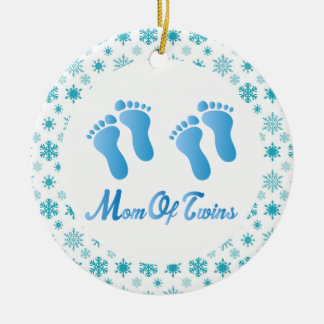 Mom Of Twins Blue Footprints Keepsake Gift Round Ceramic Decoration
