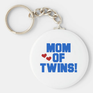 Mom of Twins-Blue Text Tshirts and Gifts Basic Round Button Key Ring