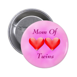 Mom Of Twins Double Hearts Button
