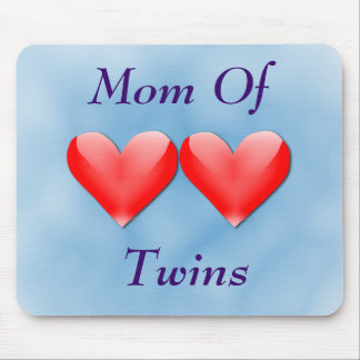 Mom Of Twins Double Hearts Mousepad (blue)