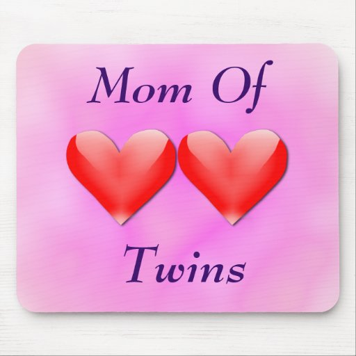 Mom Of Twins Double Hearts Mousepad (pink)