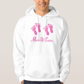 Mom Of Twins Pink Footprints Hooded Sweatshirt