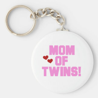 Mom of Twins-Pink Text Tshirts and Gifts Basic Round Button Key Ring