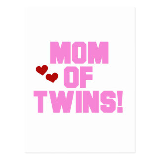Mom of Twins-Pink Text Tshirts and Gifts Postcard