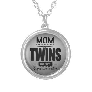 Mom Of Twins Pro Dept. Super Mom In Action Silver Plated Necklace