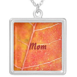 Mom, Orange Autumn Maple Leaf Necklace