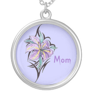mom orchid on a purple background necklace