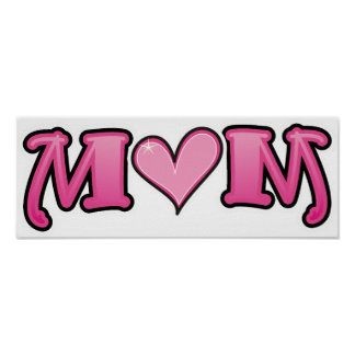 Mom Pink Heart Poster