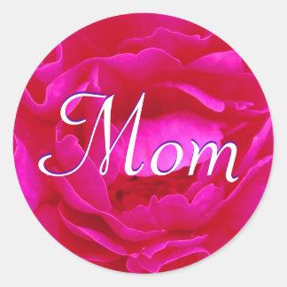 Mom Pink Rose Sticker Round Sticker