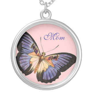 Mom, Purple and Lavender Butterfly Necklace